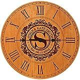 Wedding Clock or Anniversary Clock Personalized Wedding Gift Anniversary Gift Housewarming Gift ' Monogram Initial Clock (Cherry)