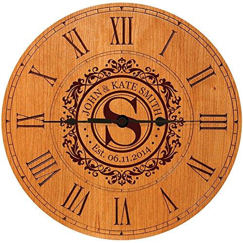 LifeSong Milestones Wedding Clock or Anniversary Clock Personalized Wedding Gift Housewarming Gift Monogram Initial Clock (Cherry)