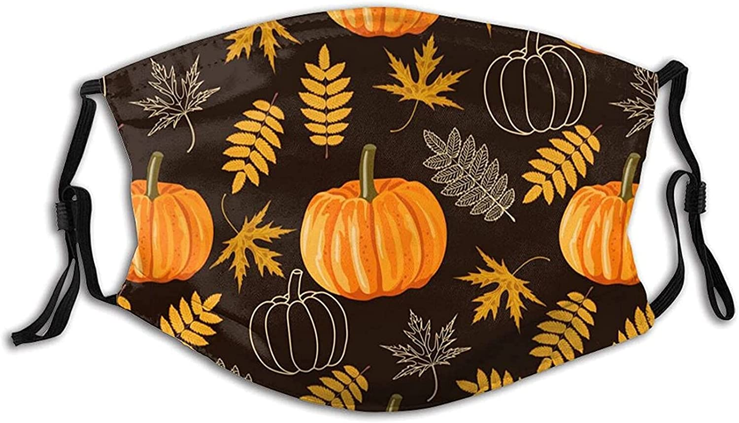 Fall Leaves Pumpkins Face Mask Scarf, Washable Reusable Adult Mask Balaclava with 2 Filters, for Men & Women Outdoor