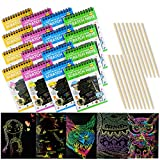 IFfree 16Pack Rainbow Scratch & Sketch Note Pads, Rainbow Scratch Mini Notes with Stylus Scratch Paper 10 Pages, Drawing Notepads Small Size.(Four Colours, with Four Stylus)