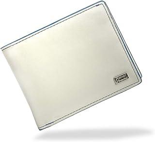 メンズ 二つ折り 財布 牛革 L字ファスナー ホワイト
