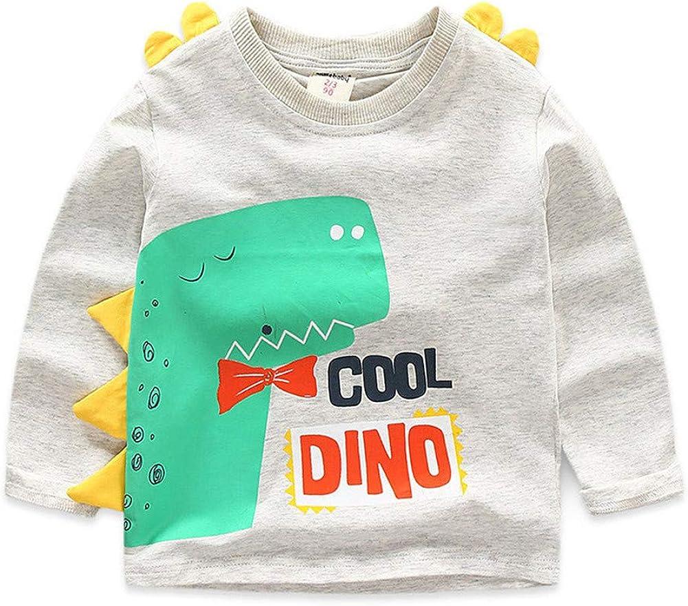 LittleSpring Little Boys Long Sleeve T Shirts Cartoon Printing Crewneck Shirt