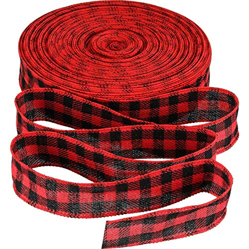 50 Yards Christmas Red and Black Wired Flannel Buffalo Plaid Ribbon for DIY Festival Farmhouse Christmas Tree Wreath Floral Arrangement Crafts (1.5 Inch)
