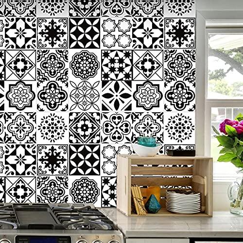 Pegatinas de azulejos de mosaico, 16 piezas autoadhesivas de mosaico, azulejos de pared, impermeable, papel para cuarto de baño y cocina (16 unidades de 20 x 20 cm)