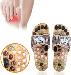 Acupressure Massage Slippers with Earth Stone, Therapeutic Reflexology Sandals for Foot Acupoint Massage Shiatsu Arch Pain...
