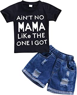 Pinleck Toddler Baby Boys Short Sleeve Letters Print Tshirt Ripped Jeans Shorts Set