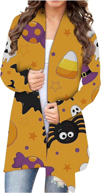 Fashion Jacket Coat Women's Halloween Animal Cat Pumpkin Print Cardigan Autumn Coat Blouse