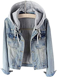 LifeShe Women's Casual Detachable Hoodie Denim Jacket