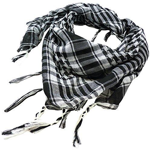 TRIXES schwarz/weiß Palästinenser Tuch Schal Wüste Kufiya Shemagh leichte Baumwolle Military Army Stil