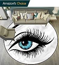 Eye Livingroom Rug Azure Blue Glance Cartoon Can Machine Washable Diameter-39