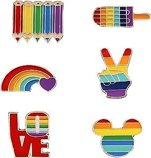 6 Pezzi Spille Arcobaleno, Gay Pride Pin, Spilla Smalto Arcobaleno, per Maglioni, Sciarpe, Abiti, Abiti e Indumenti Vari (...