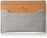 Skagen Men's Torben Coated Canvas Card Case, Grey, One Size