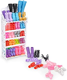 E-TING Doll Shoes Rack Shoes Shelf Accessory with 20 Pairs High Heel Shoes Boots for Girl Doll Playset Accessories
