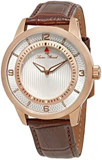 Men's 'Grotto' Quartz Stainless Steel and Brown Leather Casual Watch (Model: LP-15024-RG-02S-BRW)
