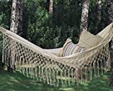 Fringed Macramé Hammock Cotton Tree Hammock Swing Bed for Patio