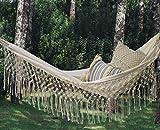 Fringed Macramé Hammock Cotton Tree Hammock Swing Bed for Patio,79' Lx32 W