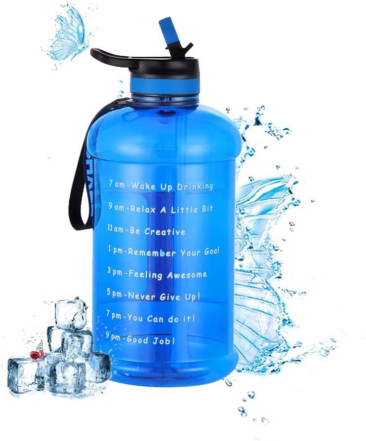 CosHall Botella deportiva de 2,2 l, con marcador motivador, a prueba de fugas, sin BPA, para deportes al aire libre, fitness, gimnasio, oficina, hogar