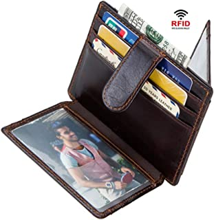 LDUNDUN-BAG, 2019 Card Set RFID Anti-Magnetic Retro Crazy Horse Leather Card Holder Men's Wallet Leather Card Holder (Color : Brown, Size : S)