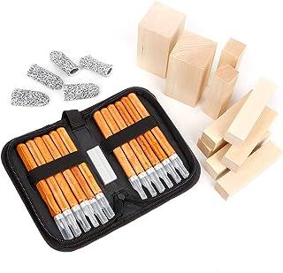ZPONEED Kit de sculpture sur bois, 12Pcs outils en acier au carbone et 10Pcs blocs de bois de sculpture pour les débutants