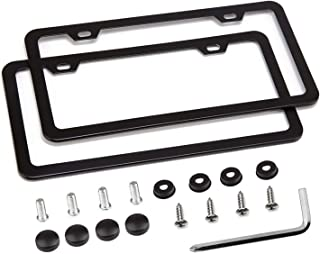 Simchoco License Plate Frame, Black License Plate Frame 2 Pcs 2 Holes Slim Border Matte Aluminum Frame with Chrome Screw Caps for US Vehicles