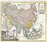 Historic Map - Homann Heirs Map of Asia -, 1744 - Vintage Wall Art - 24in x 22in