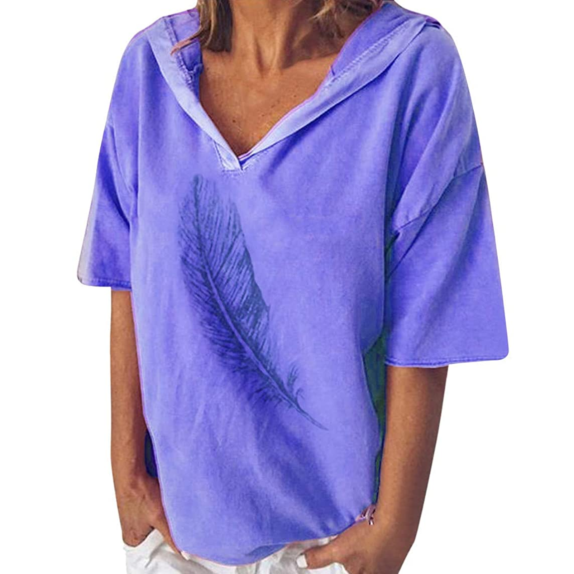 CCOOfhhc Summer Loose Blouses V-Neck T-Shirt Casual Solid Colors Tunic Tops Hooded Short Sleeve Tee Shirts