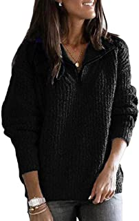 Womens Stand-up Collar Sweater Long Sleeves Half Zipper Pullover