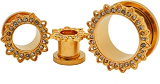 Mystic Metals Body Jewelry 316L Gold Steel Screw on Tunnels with Lotus CZ Top Plugs (PS-146) - Sold as a Pair