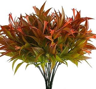 Nahuaa Plantas Simulación Flores de Plástico 4pcs Plantas de Jardin Ramas Artificiales Rojo Arbustos Exterior Interior para Hogar Cocina Baño Balcón