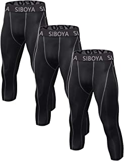 Siboya Men's 3/4 Compression Tights Cool Dry Sports Running Pants (Packs of 1 or 3)