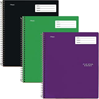"""Five Star Interactive Notetaking, 1 Subject, College Ruled Spiral Notebooks, 100 Sheets, 11"""" x 8-1/2"""", 3 Pack (38583)"""