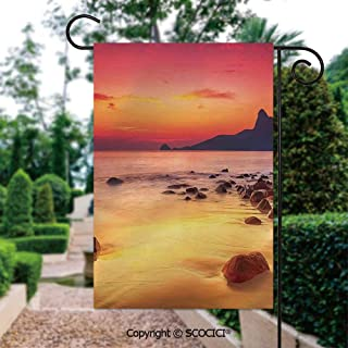 SCOCICI Seasonal Garden Flags 12x18 inch Small Holiday Yard Flags - Photo of Mystic Sunrise Over The Sea with Stones and Cliffs Double Sided Design for All Seasons and Holidays