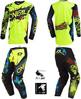 O'Neal Element Villain Neon Yellow Kids/Youth motocross MX off-road dirt bike Jersey Pants combo riding gear set (Pants 8/10 (24) / Jersey Kids Medium)