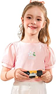 cicie Summer Girls T-Shirt Short Sleeved Cotton Print Top for 3-9 Years Kids (Pink, 3-4T)