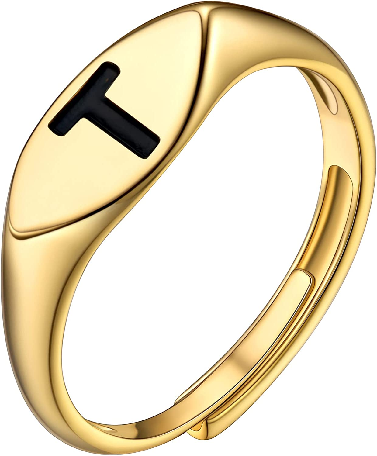 Bestyle Gold Initial Rings for Women Girls, Dainty Stackable Oval Signet Rings Engraved with Letters A-Z, Open Adjustable Open Band Rings Monogram Statement Jewelry, Available for Size #6-#12