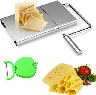 Keledz Cheese Slicer Stainless Steel Wire Butter Cutter with Serving Board for Hard and Semi Hard Cheese Butter Sausage, 5 Wires Included