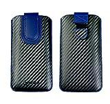 Emartbuy Dark Grey/Blue Premium PU Leather Carbon Fibre