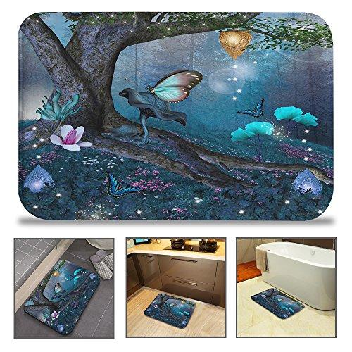 "QIYI Bath Mats Bathroom Non Slip Floor Mats for Kitchen Tub Kids Super Soft Machine Washable Rug 16"" W X 24"" L (40X60 cm) -Butterflies in Wonderland"