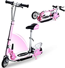 Overwhelming Upgrade E120 Adjustable Handlebar Height and Seat Folding Electric Scooter with Removable Seat for Kids,177lbs Max Weight Capacity Motorized Bike, up to 10 mph
