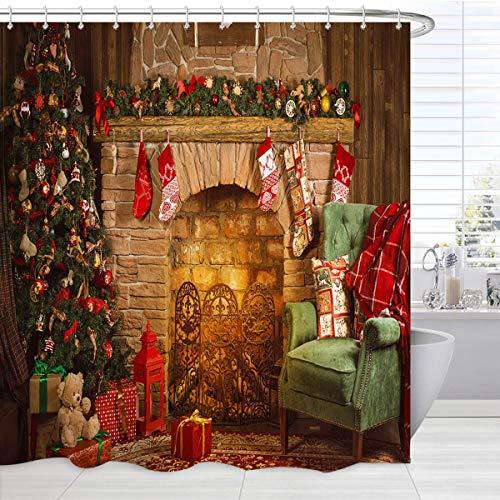 BROSHAN Vintage Weihnachten Duschvorhang Set, Merry Xmas Tree Ornament Kamin mit Strumpf Kunstdruck Urlaub Badvorhang, Country Christmas Duschvorhang für Badezimmer, 183 x 183 cm