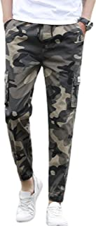 Mens Relaxed-fit Cargo Pants Multi Pocket Camo Combat Work Pants, Gym Sweatpants Bottoms, Training with Drawstring Waistba...