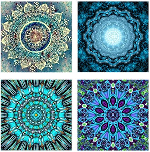 KINGCOO 4 Stück 5D Diamant Malerei Kits, DIY 5D Mandala Blume Vollbohrer Krystal Strass Painting Diamont Stickerei Gemälde für Wand Décor,25X25CM (Stil 1)