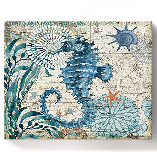 BABE MAPS Paint by Number Kits Ocean Life Coastal Teal Blue Sea Animal Seahorse DIY Canvas Oil Painting for Kids, Adults Beginner with Brushes and Acrylic Pigmentm, 16x20 Inch