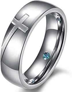 Mens Womens 6mm Stainless Steel Engrave Cross White Gold Ring Christian Wedding Silver Band CZ Inlay