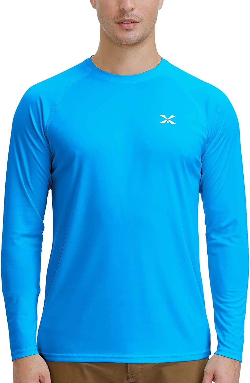 Men's UPF 50+ Long Sleeve Sun Shirts UV Protection Quick Dry Lightweight Shirt Hiking Fishing Swim T Shirt