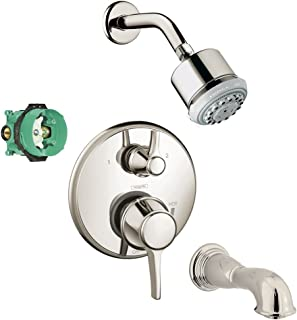 Hansgrohe KST15753-28496-88PN-2 Clubmaster Showerhead Kit with Tub Spout, Thermostatic Trim with Diverter, Rough In Polish...