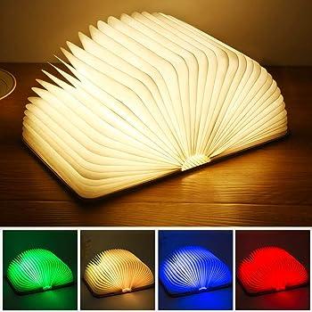 Yuanj Livre Lampe Pliante,LED Lampe de Livre en Bois avec 4 Couleurs,Lumière Magnétique Rechargeable par USB,Lampe de