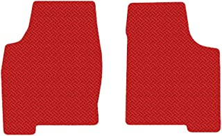 Brightt (MAT-DUX-140) 2 Pc Front Floor Mats - Red All-Weather Rubber Weave Pattern - compatible with 2007-2010 MKX (2007 2008 2009 2010 | 07 08 09 10)