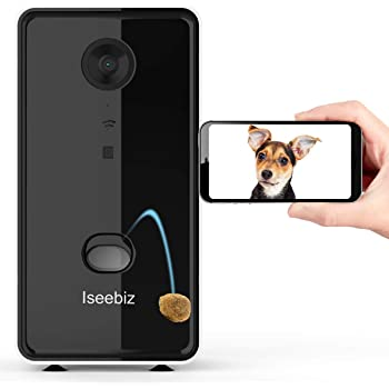 Iseebiz Pet Camera Treat Dispenser, App Remote Control Tossing for Dogs Cats, 2-Way Audio, Live Video, 720P Auto Night Vision Cam, 2.4G Wifi Enabled, Compatible with Alexa, Check Your Fur Baby Anytime