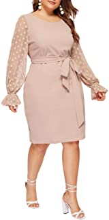 Women's Plus Elegant Mesh Contrast Appliques Sleeve Stretchy Bodycon Pencil Dress